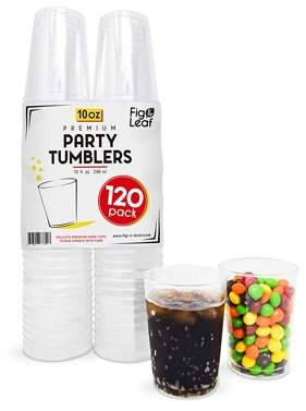 Top Choice Fig and Leaf (120 Pack) Premium Hard Plastic 10 OZ Party Cups l Old Fashioned Tumblers Crystal Clear 10-Ounce l for Catering Wedding Birthday