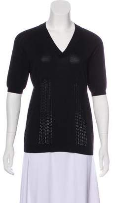 Bottega Veneta Short Sleeve V-Neck Top
