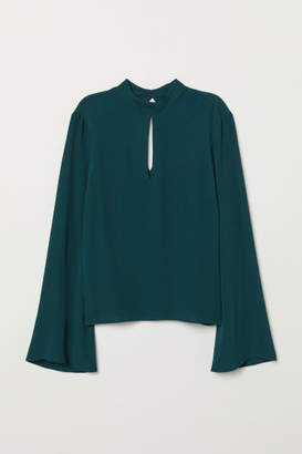 H&M Trumpet-sleeved Blouse - Green