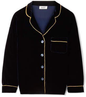 Sleepy Jones - Marina Grosgrain-trimmed Velvet Pajama Shirt - Midnight blue