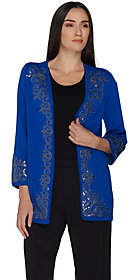 Nobrand NO BRAND Bob Mackie's 3/4 Sleeve Open Front Cardigan w/Sequin Detail