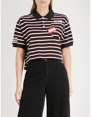 Mini Cream Cropped striped cotton polo shirt