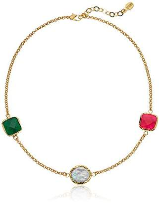 Mother of Pearl ELYA Jewelry Womens Gold IP Green and Red Dyed Chalcedony Necklace
