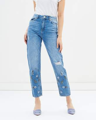 Miss Selfridge Mid Authentic High Rise Embellished Jeans