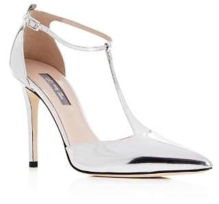Sarah Jessica Parker Women's Taylor Patent Leather T-Strap Pointed Toe Pumps