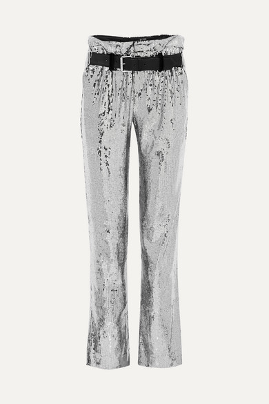 Dillon Belted Sequined Satin Pants - Silver