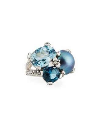 Stephen Dweck Blue Topaz & Mabe Pearl Three-Stone Ring, Size 7