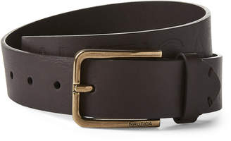 Nautica Brown Embossed Logo Faux Leather Belt
