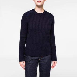 Women's Navy Shetland Wool Sweater With Suede Patches $595 thestylecure.com