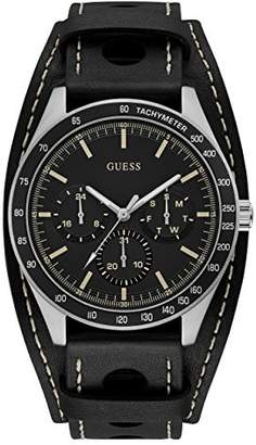 GUESS Men's Stainless Steel Leather Removable Cuff Watch