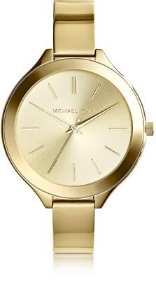 Michael Kors Mid-Size Golden Stainless Steel Slim Runway Three-Hand Watch