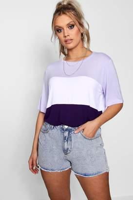 boohoo Plus Colour Block T Shirt