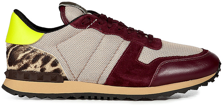 Valentino Leather/Haircalf Sneakers