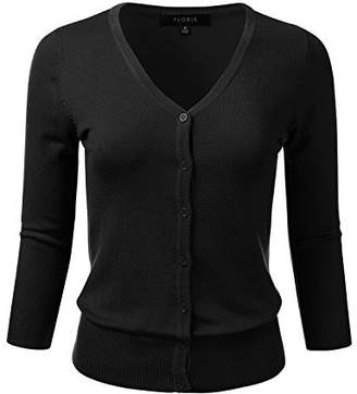 FLORIA Womens Button Down 3/4 Sleeve V-Neck Stretch Knit Cardigan Sweater Bronze M
