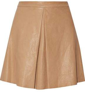 Alice + Olivia Russo Pleated Leather Mini Skirt