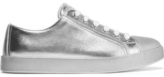 Prada - Metallic Textured-leather Sneakers - Silver $520 thestylecure.com