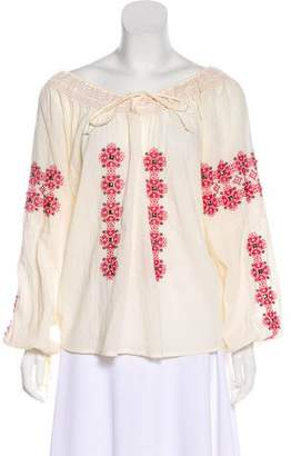 Haute Hippie Embroidered Long Sleeve Top