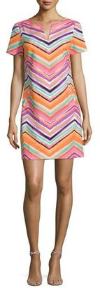 Trina Turk Striped Chevron Short-Sleeve Sheath Dress $298 thestylecure.com