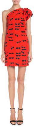 Victoria Beckham Victoria One-Shoulder Sunglasses-Print Short Shift Dress