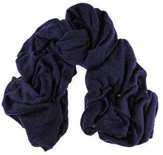 Black Oversized Navy Cashmere Knit Scarf