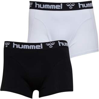 Hummel Mens Mars Two Pack Boxers Black/White