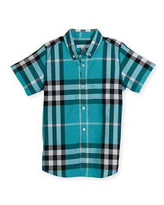 Burberry Mini Fred Short-Sleeve Check Shirt, Cyan Green, Size 6M-3 $110 thestylecure.com