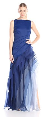 HALSTON HERITAGE Women's Sleeveless Boat Neck Gown with Tiered Skirt $695 thestylecure.com