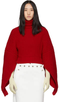 Awake Red Button Back Turtleneck