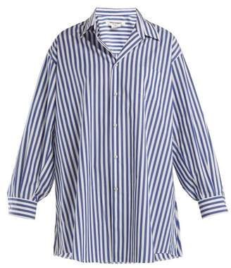 Junya Watanabe Oversized Striped Poplin Shirt - Womens - Light Blue