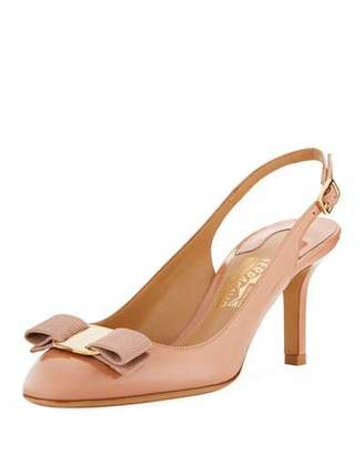 Salvatore Ferragamo Ortigia Slingback Pumps with Signature Vara Bow, New Blush Patent