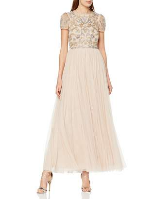 Frock and Frill Women's Chloe Embellished Maxi Dress Party (Barely Pink) (Size:UK 14)