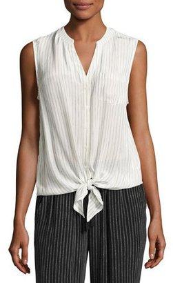Joie Edalette Sleeveless Tie-Hem Top, White $198 thestylecure.com