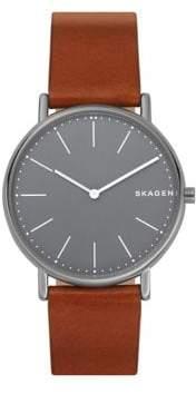 Skagen Signatur Slim Titanium and Leather-Strap Watch