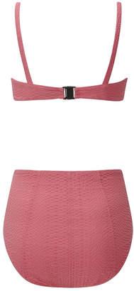 Lisa Marie Fernandez Genevieve pink seersucker high-waist bikini