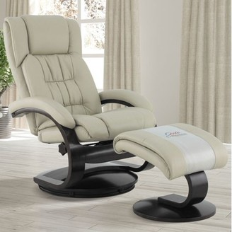 BEIGE Comfort Chair Oslo Collection by Mac Motion Narvick Recliner and Ottoman in Breathable Air Leather