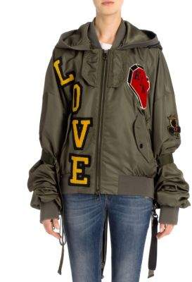 Dolce & Gabbana Love Patch Hooded Nylon Jacket