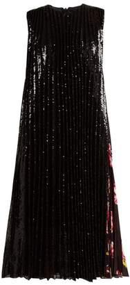 MSGM Sequined Pleated Midi Dress - Womens - Black