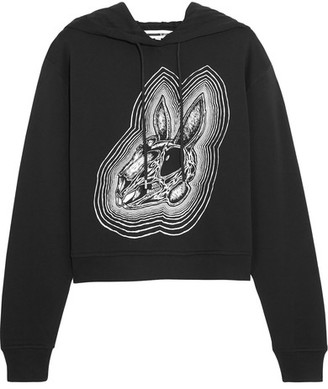 McQ Alexander McQueen - Printed Cotton-jersey Hooded Top - Black $320 thestylecure.com