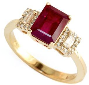 EFFY COLLECTION 14 Kt. Yellow Gold Ruby & Diamond Ring