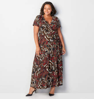 Avenue Butterfly Surplice Wrap Maxi Dress