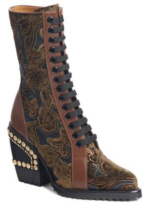 Chloé Rylee Floral Studded Mid Calf Bootie