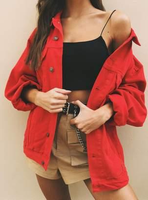 Western Denim Jacket Red