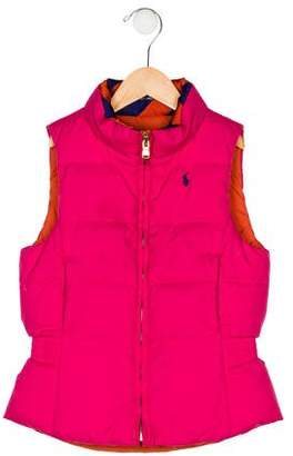 Ralph Lauren Girls' Down Reversible Vest
