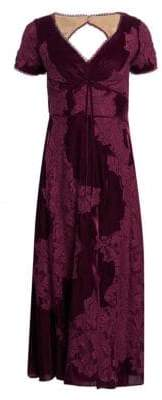 Marchesa Women's Velvet Lace A-Line Cocktail Dress - Wine - Size 8