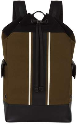Bottega Veneta Striped Canvas Drawstring Backpack