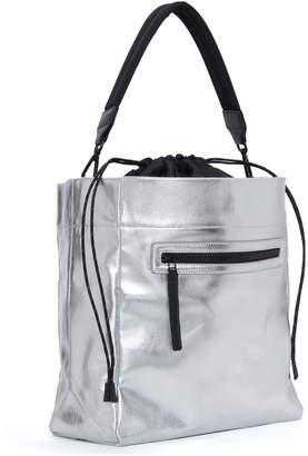 Transience Swing Metallic Leather Drawstring Bucket Bag
