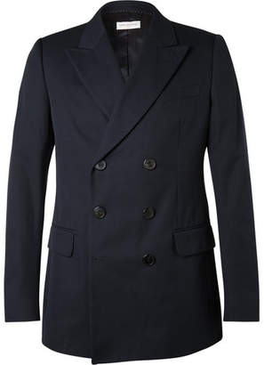 Dries Van Noten Blue Slim-Fit Double-Breasted Cotton-Twill Blazer