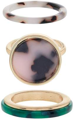 Accessorize Pack Of 3 Resin Rings - Gold