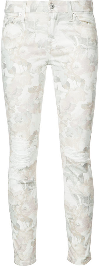 7 For All Mankind7 For All Mankind distressed floral jeans