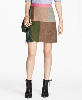 Brooks Brothers Patchwork Tweed Skirt